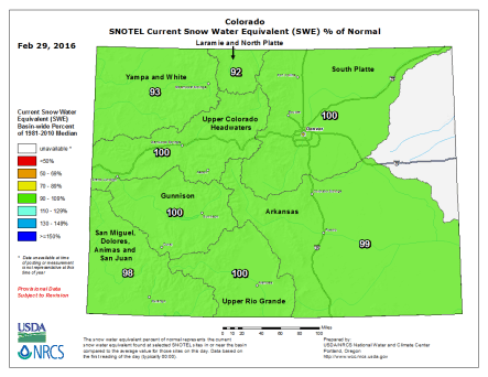 Statewide snowpack map February 29, 2016 via the NRCS.