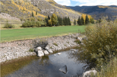 The creek long ago was put into a channel to accommodate the golf course, highways and roads. - See more at: http://mountaintownnews.net/2016/04/27/vail-takes-aim-at-pollution-in-gore-creek/#sthash.TPoKUlk4.dpuf