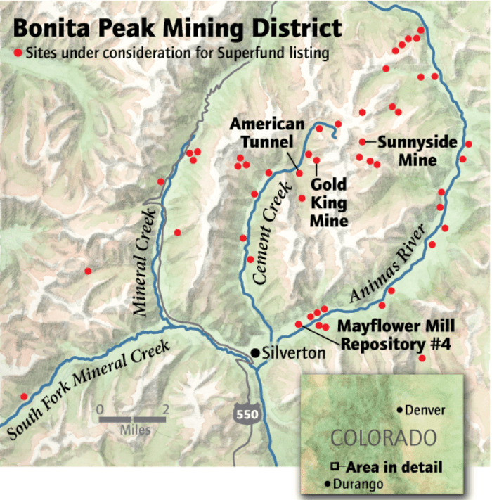 "On April 7, the Environmental Protection Agency proposed adding the ""Bonita Peak Mining District"" to the National Priorities List, making it eligible for Superfund. Forty-eight mine portals and tailings piles are ""under consideration"" to be included. The Gold King Mine will almost certainly be on the final list, as will the nearby American Tunnel. The Mayflower Mill #4 tailings repository, just outside Silverton, is another likely candidate, given that it appears to be leaching large quantities of metals into the Animas River. What Superfund will entail for the area beyond that, and when the actual cleanup will begin, remains unclear. Eric Baker"