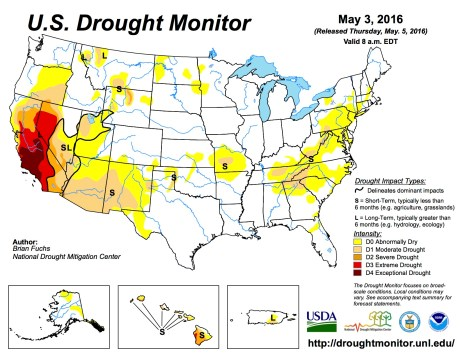UD Drought Monitor May 3, 2016.