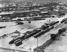 Trains at 14th St and South Platte River June 19, 1965. Photo via Westword.com