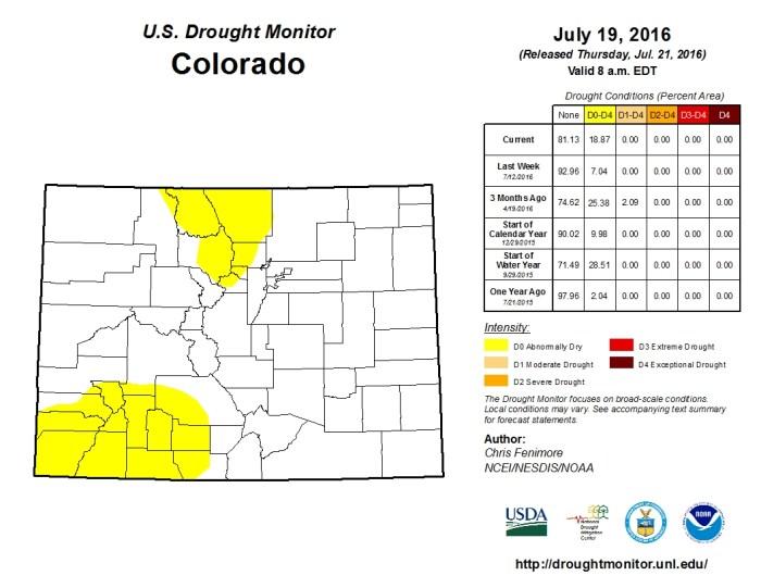 Colorado Drought Monitor July 21, 2016.