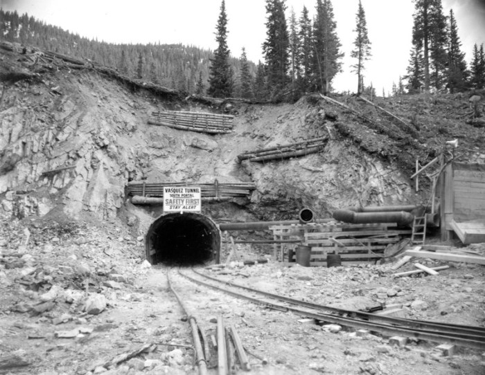 The south portal of the Vasquez Tunnel is shown in this 1957 photo. Via Denver Water.