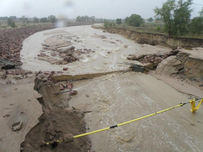 Heavy rains inundate Sand Creek. Photo via the City of Colorado Springs and the Colorado Springs Independent.