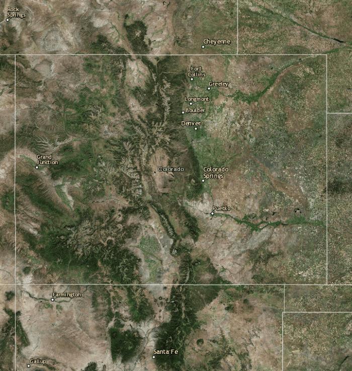 Landsat view of Colorado via the USGS.