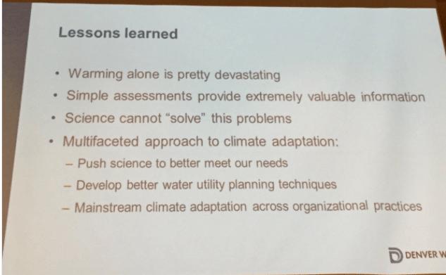 Lessons learned. Slide via Laurna Kaatz, South Platte Forum, October 27, 2016.