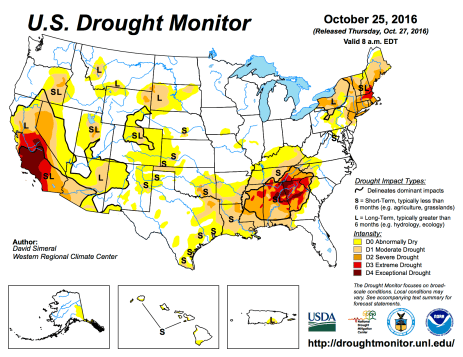 US Drought Monitor October 25, 2016.