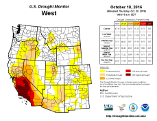 West Drought Monitor October 18, 2016.