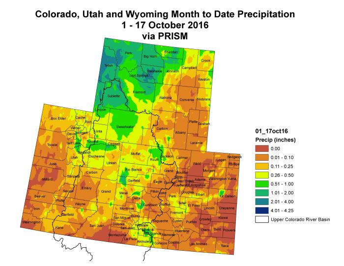 Upper Colorado River Basin month to date precipitation through October 17, 2016 via the Colorado Climate Center.