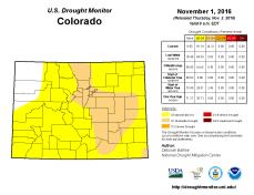 Colorado Drought Monitor November 1, 2016.