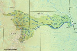 The Platte River is formed in western Nebraska east of the city of North Platte, Nebraska by the confluence of the North Platte and the South Platte Rivers, which both arise from snowmelt in the eastern Rockies east of the Continental Divide. Map via Wikimedia.