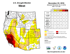 West Drought Monitor November 22, 2016.