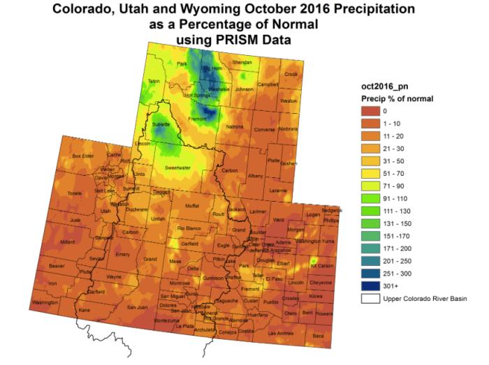 Upper Colorado River Basin precipitation as a percent of normal October 2016 via the Colorado climate Center.