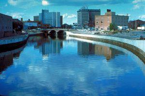 Flint River in Flint Michigan.