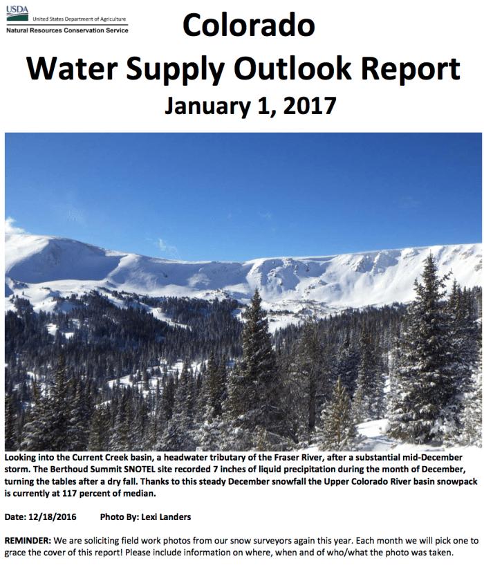Colorado Basin Outlook Report January 1, 2017 via the NRCS.