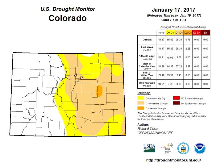 Colorado Drought Monitor January 17, 2017.