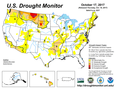 US Drought Monitor October 17, 2017.