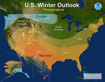 2017-18 Winter Outlook map for temperature (NOAA).