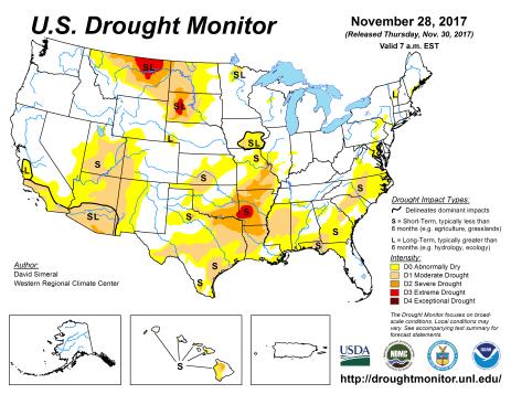 US Drought Monitor November 28, 2017.