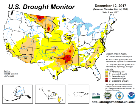 US Drought Monitor December 14, 2017.