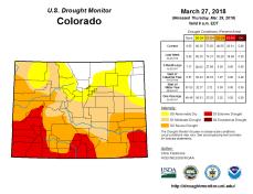 Colorado Drought Monitor March 27. 2018.