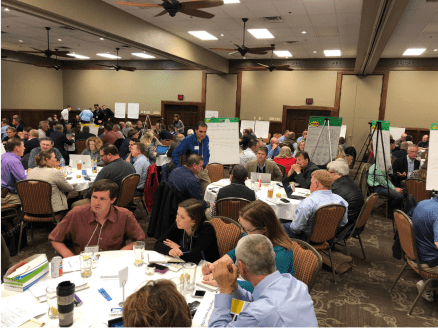 Attendees at the first Ogallala Aquifer Summit, April 9 and 10, 2018, Garden City, Kansas, were broken into diversified focus groups by the organizers to better hash out issues that affect all eight states that sit above the aquifer. (Journal photo by Jennifer M. Latzke.)
