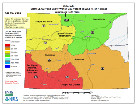 Statewide basin-fileed snowpack map April 9 2018 via the NRCS.