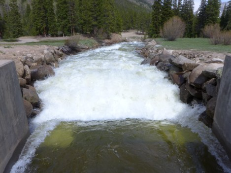 About 600 cfs of water from the Roaring Fork River basin flowing out of the east end of the Twin Lakes Independence Pass Tunnel on June 7, 2017. Photo: Brent Gardner-Smith/Aspen Journalism