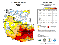 West Drought Monitor May 15, 2018.