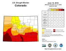 Colorado Drought Monitor June 19, 2018.