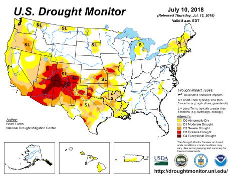 US Drought Monitor July 10, 2018.