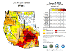 West Drought Monitor August 7, 2018.