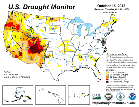 US Drought Monitor October 16 2018.