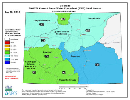 Statewide basin-filled snowpack map January 28, 2019 via the NRCS.