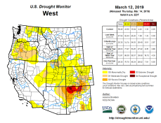 West Drought Monitor March 12, 2019.