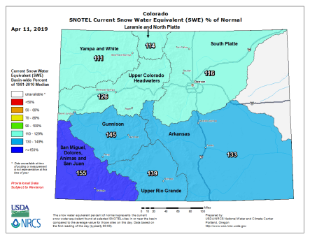 Colorado statewide basin-filled map April 10, 2019 via the NRCS,
