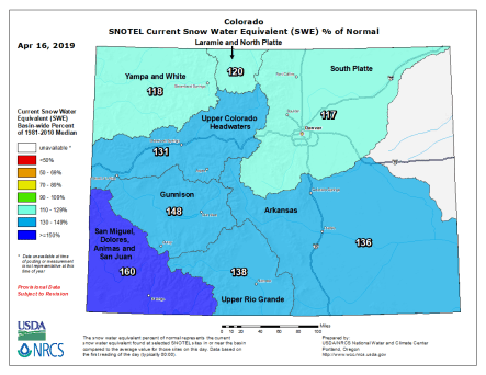 Statewide basin-filled map April 16, 2019 via the NRCS.