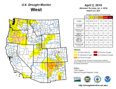 West Drought Monitor April 2, 2019.