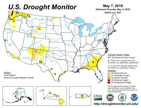US Drought Monitor May 7, 2019.