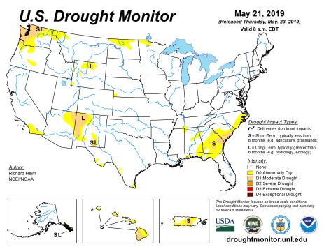 US Drought Monitor May 21, 2019.