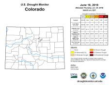 Colorado Drought Monitor June 18, 2019.