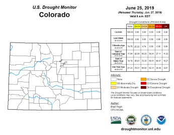 Colorado Drought Monitor June 25, 2019.