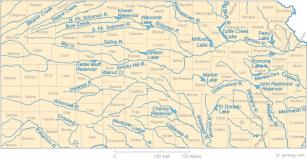 Rivers of Kansas map via Geology.com