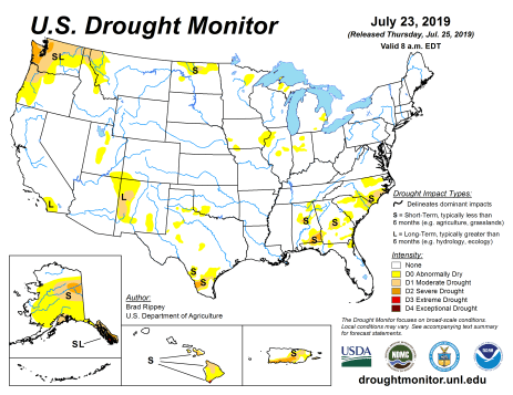 US Drought Monitor July 23, 2019.