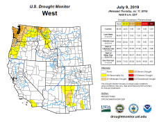 West Drought Monitor July 9, 2019.