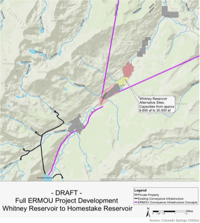 A map from Colorado Springs Utilities that shows how tunnels could bring water to Whitney Reservoir from Fall and Peterson creeks, and from the Eagle River. The map also shows the route of a pipeline to pump water from Whitney Reservoir to Homestake Reservoir.