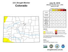 Colorado Drought Monitor July 30, 3019.