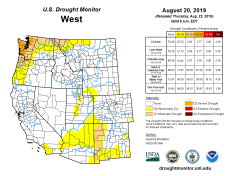 West Drought Monitor August 20, 2019.