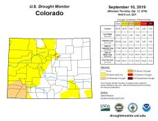 Colorado Drought Monitor September 10, 2019.