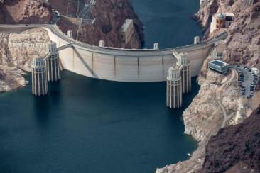 Hoover Dam, straddling the border between Nevada and Arizona, holds back the waters of the Colorado River in Lake Mead. In 2016, Lake Mead declined to its lowest level since the reservoir was filled in the 1930s. Source: Bureau of Reclamation